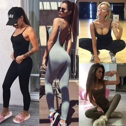 Wholesale Rompers Solid Color Women Clothes Summer Yoga Jumpsuits Backless Skinny Fitness Gym