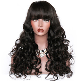 $enCountryForm.capitalKeyWord NZ - Unprocessed bangs new virgin human hair natural color big curly long full lace top wig for sale