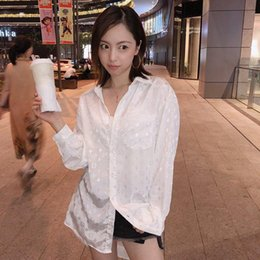Slim girlS blouSe online shopping - Spring womens Blouses luxury classic shirts for girls cotton slim long sexy Reflective letter printing high quality silk