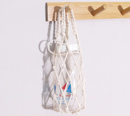Wholesale Macrame Wine Totes Woven Cotton Rope Drink Bottle Sling Mini Pouch Bottle Bag Macrame Wine Holders