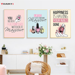 girl pop art 2019 - modern Nail Polish Quotes Wall Art Canvas Painting Nordic Posters And Print Pop Art Salon Wall Pictures For Girl room ho
