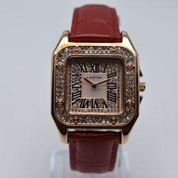 Rhinestone 35mm praça pulseira de couro de quartzo roman digital de luxo mulheres designer de relógio dropshipping das mulheres relógios de ouro presentes mulheres relógio de pulso em Promoção