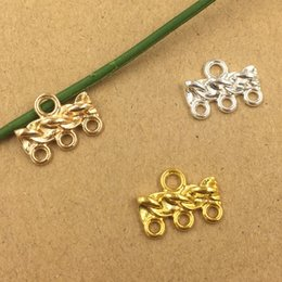 Traditional Hair Accessories Australia - 100pcs 17*13mm Gold Silver connector charms metal pendants Alloy DIY Jewelry Accessories Headwear Hair Jewelry Handicraft Material