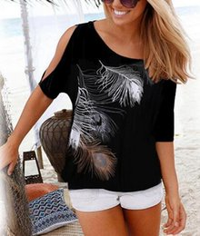 Print Feather Tee Women Australia - Women Summer 2019 Tshirt Casual Short Sleeve Tops Tees Sexy Off Shoulder Feather Print T-Shirt O-neck Loose Plus Size 5XL Shirts