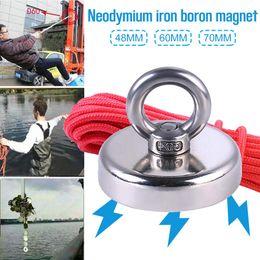 Ingrosso Super Forte Magnete da pesca Magnete al neodimio con foro svasato e golfare 20M Corda da tiro Force 110Kg Pesca