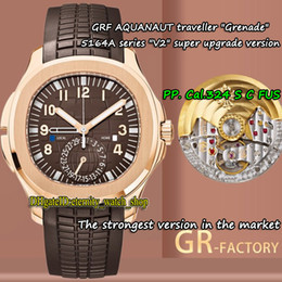 Wholesale best time resale online - V2 New version Rose Gold Case GRF Dual Time Zone Cal S C FUS GR324 Automatic Mens Watch Brown Dial eternity Best Watches