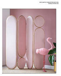 Bedroom partition Bedroom Screen Light luxury metal net red screen folding movable Nordic partition handicraft can be customized on Sale