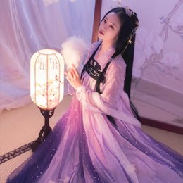 Wholesale woman fairy costume resale online - New Popular Hanfu Women Purple Fairy Dress Pearl Skirt Cosplay Costume Adult Festival Outfits Opera Stage Wear Hanfu BL1976