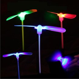 Girl S Toys Australia - heap Light-Up s 50pcs lot Light up Plastic glowing Bamboo Dragonfly Flying Saucer Disc Sets Children Traditional Toy kids funny Luminous...