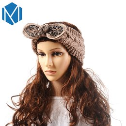 Wholesale MISM Winter Women Big Bow Knitt Wool Warm Turban Crochet Butterfly Bowknot Stretch Headband Flower Lace Tie Twist Braid Band