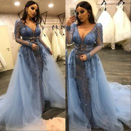 Light coraL Lace dress Long online shopping - Sexy V Neck Sheer Long Sleeve With Detachable Train Evening Gowns Wear Appliques Sequins Women Occasion Prom Dress Formal