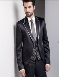 Cotton Embroidery Suits Images Australia - Black Mens Wedding Tuxedos Vest Embroidery Bridegroom New Lapel Formal Suits Prom Costume Homme(Jacket+Pants+Vest)