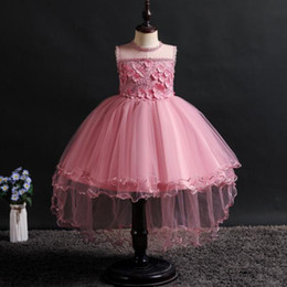 Red White Blue Tutus Australia - 2019 New White Flower girl dress for wedding Elegant trailing Gown Summer Girls Princess Tutu Dress Kids Birthday clothes 4-14Y