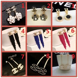 $enCountryForm.capitalKeyWord Australia - HOT!Classic 14K Brand Stud earring Gold Silver Letter Logo Pin Pearl Diamond Collar Pendant Ms Wedding Party Gift Box A19
