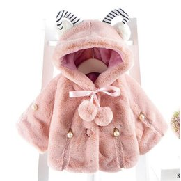 ponchos clothing Australia - Baby Girl Winter Outwear Girl Fashion 4 colors Poncho Mantle Cloak with Hat Kids Stripe Tops Coat Cape Shawl Christmas Clothes Gift
