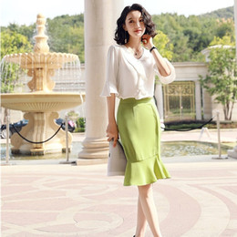 Wholesale blouse skirt style for sale - Group buy Summer Fashion Piece Women Blouse and Skirt Sets White Tops Half Sleeve Shirts Ladies Office Uniform Styles