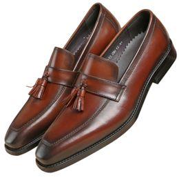 Tan Mens Dress Shoes Leather Australia - Fashion Black   Tan Tassel Loafers Mens Dress Shoes Genuine Leather Groom Shoes Boys Prom Shoes