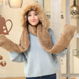 $enCountryForm.capitalKeyWord Australia - Winter Warm Gloves Women Fluffy Hoodie Pocket Faux Fur hat with fur trim long scarf double use scarf and gloves
