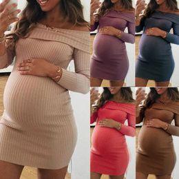 $enCountryForm.capitalKeyWord Australia - Women Fashion Casual Pregnant Woman Clothes Long Sleeve Off Shoulder Lady Solid color Nursing Maternity Dress