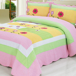 Discount green patchwork bedding - Yellow Green Pink Patchwork Flowers Bedspread Girls 100%Cotton Soft Quilted Bedspread Bedding Set Coverlet Queen size 3P