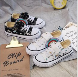 spring court canvas NZ - New children's canvas shoes spring and autumn rainbow cloth men's and women's magic stick cartoon casual shoes