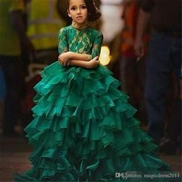 $enCountryForm.capitalKeyWord Australia - Junior Pageant Dresses 2016 Free Shipping Robe Petite Fille D'Honneur Ball Gown Emerald Green Flower Girl Dresses with 1 2 Long Sleeves