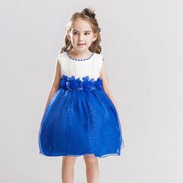 Chiffon Fluffy Dresses Australia - Children's New word shoulder strap Wedding dress skirt girl fluffy flower girl princess dress dress