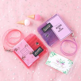 cute girls photo UK - New Transparent Wallet Female Small Wallets Cute Lanyard Folding Purses Students Teenager Girls Fashion Photo Wallet for Women