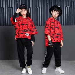 Camouflage Jacket Kids Australia - Kids Hip Hop Ballroom Clothes Boys Girls Dance Costume Jazz Camouflage Performance Stage Costume Dancing Jacket Pant for Child