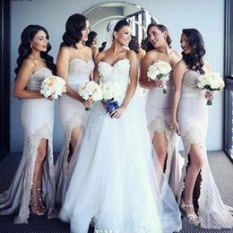 Green draped dress online shopping - 2019 Mermaid Bridesmaid Dresses Sweetheart Beaded Lace Appliques High Split Front Cheap Elegant Maid of the Honor Gowns Prom Dress