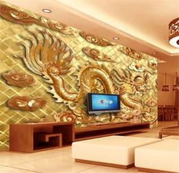Hearty Custom Photo 3d Wallpaper High-grade Wood Carving Jinlong Sofa Tv Background Wall Decoration Mural Wallpaper Home Improvement