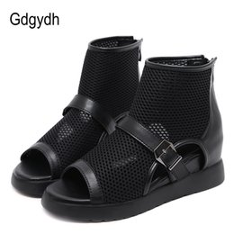 hollow boots women Canada - Gdgydh Fashion Mesh Ankle Open Toe Boots Women Hollow Out European Shoes Brands Female Short Boots With Zipper Spring Vintage T200425
