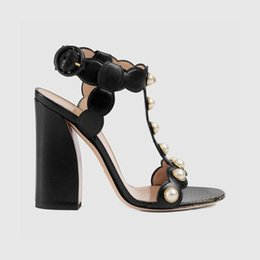 Womens Black Leather Chunky Sandals Australia - Gold Black Pearls GG Sandals Feminino Chunky heels Genuine leather Peep toe Ladies Gladiators T Show Party Pumps Summer Womens Shoe
