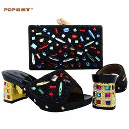 Party Decoration Big Sizes Australia - Big Size For African Wedding Party Colorful Stones Decoration Italian Shoes And Bags Matching Set Comfortable Height Blackcolor
