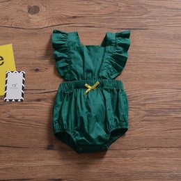 Infant Rompers Girls Australia - Newest Fly Sleeve INS Green Baby Girls Rompers Must-have Infant Girls Bodysuits One-piece Bow Sleeveless Toddler Bodysuits Girls Jumpsuits
