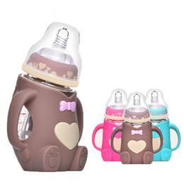 Venta al por mayor de 240 ml de silicona bebé botella de alimentación de la leche Mamadeira Vidro BPA Segura jugo infantil taza de agua la botella de alimentación de cristal Feede enfermería