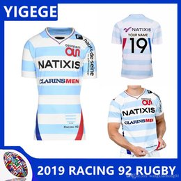 Wholesale french clothing sizes for sale – custom RACING HOME RUGBY JERSEY thai quality French RAClNG92 rugby jerseys clothing European size S XL can print