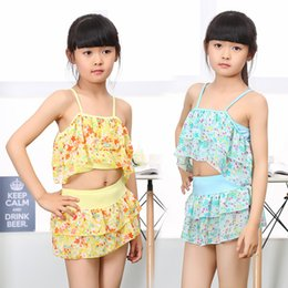 children swimming wears UK - Girls Two Pieces Suits For Swimming Children Polyester Swimwear Kids Floral Bathing Suit Swim Wear Big Girl Swimsuits 3-15 Years