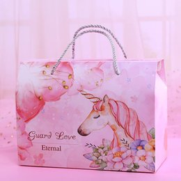 Snack Pack Wholesale Australia - Unicorn Candy Wedding Gift Boxes Guard Love Souvenir Snack Food Sweet Box Packing Papery Practical Portable Reticule 1 7jl4D1
