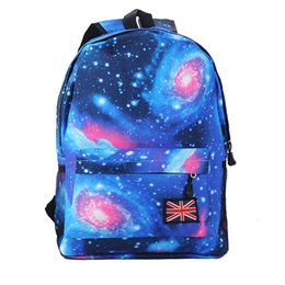 Backpack flag print online shopping - Universe Space printing backpack School Book Backpacks British flag Stars bag Mochila Feminina