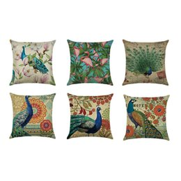 peacock print bedding Australia - Peacock Printing Series Car Cushions Pillowcase Household Bedding