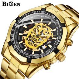$enCountryForm.capitalKeyWord NZ - Steampunk Skull Auto Mechanical Watch Men Black Stainless Steel Strap Skeleton Dial Fashion Cool Design Wrist Watches 486 J190614