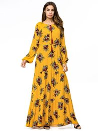 China Casual Maxi Dress Print Floral Abaya Plus Size Kimono Vintage Long Robe Gowns Bohemia Swing Ramadan Muslim Islamic Clothing cheap bohemia clothing suppliers