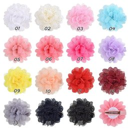 chiffon flower hair clips wholesale UK - Lovely Girls Chiffon Flower With Cips Hairclip Flower Bow Hairpins Hair Clip Hair Accessories Beautiful HuiLin Headdress