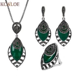$enCountryForm.capitalKeyWord Australia - Kcaloe Geometric Vintage Jewerly Sets For Women Crystal Rhinestone Silver Green Natural Stone Necklace And Earring Ring Set C19021601