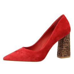 $enCountryForm.capitalKeyWord NZ - 2019 Female 8cm High Glitter Heels Block Pumps Ladies Sexy Chunky Tacones Heels Woman Scarpin Elegant Party Wedding Yellow Shoes
