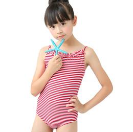 09b758e3d88bb 5-11 Year one piece swimsuit children swimwear kids 2018 summer swim strip  color girls swimsuit swimming wear