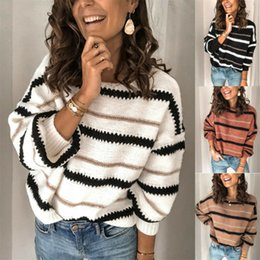 Wholesale loose baggy sweaters resale online - 2020 New Fashion Women Striped Sweaters Loose Jumper Ladies Long Sleeve Baggy Pullovers Autumn Winter Female Knit Sweaters S XL