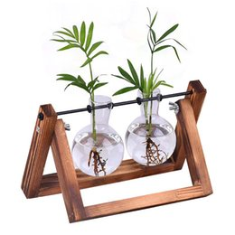 Творческий Гидропонное Растение Прозрачная Ваза Деревянная Рамка Ваза Стеклянный Настольный Завод Бонсай Декор Ваза для цветов Террариум 6 Стиль на Распродаже