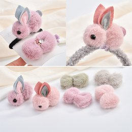 Wholesale 10pcs Handmade Craft Kawaii Wool Felt D Animal Rabbit Ribbon Bow Patch Stiker Craft Fit Girls Hair Jewelry Headband DIY
